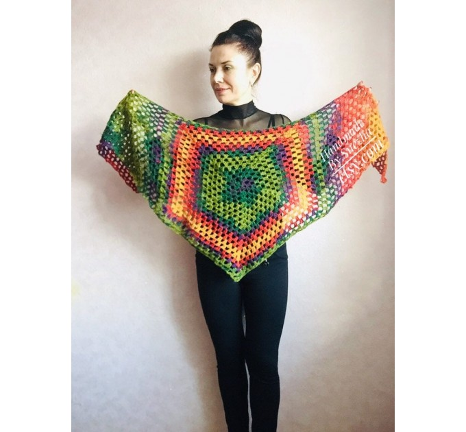 Crochet shawl triangle knit scarf women Burnt Orange Granny square mohair scarf Chunky birthday gift daughter Gift-For-Her Rainbow   Mohair / Alpaca  4