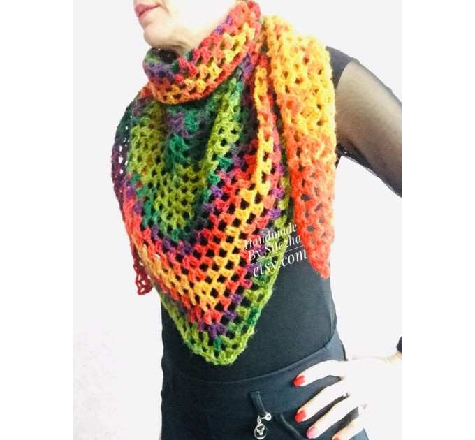 Crochet shawl triangle knit scarf women Burnt Orange Granny square mohair scarf Chunky birthday gift daughter Gift-For-Her Rainbow   Mohair / Alpaca  5