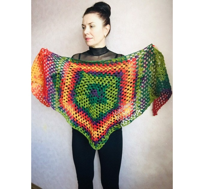 Crochet shawl triangle knit scarf women Burnt Orange Granny square mohair scarf Chunky birthday gift daughter Gift-For-Her Rainbow   Mohair / Alpaca  6