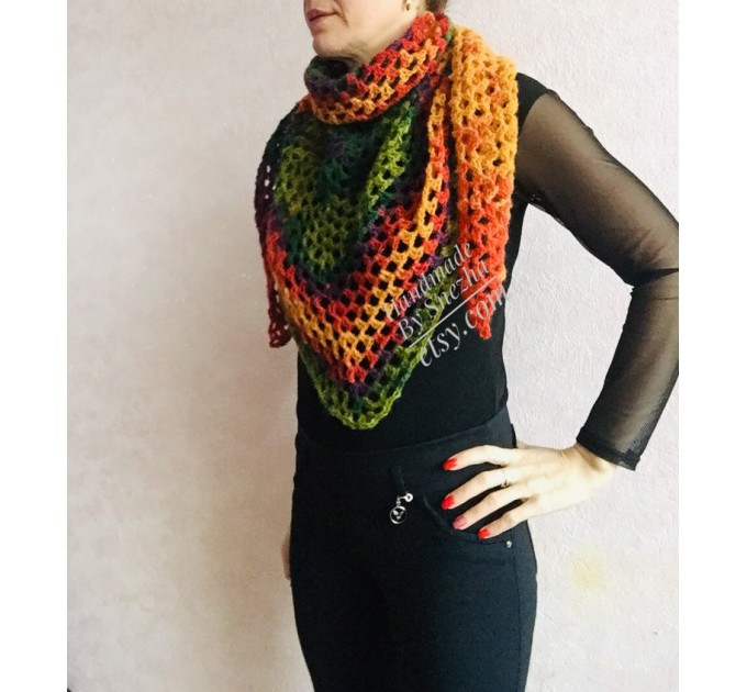 Crochet shawl triangle knit scarf women Burnt Orange Granny square mohair scarf Chunky birthday gift daughter Gift-For-Her Rainbow   Mohair / Alpaca  7