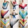 Poncho Women Crochet Shawl Big Size Boho Vintage Rainbow Cotton Knit Cape Hippie Gift for Her Bohemian Vibrant Colors Boat Neck