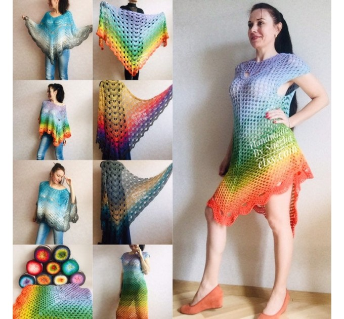 Poncho Women Crochet Shawl Big Size Boho Vintage Rainbow Cotton Knit Cape Hippie Gift for Her Bohemian Vibrant Colors Boat Neck  Poncho  6