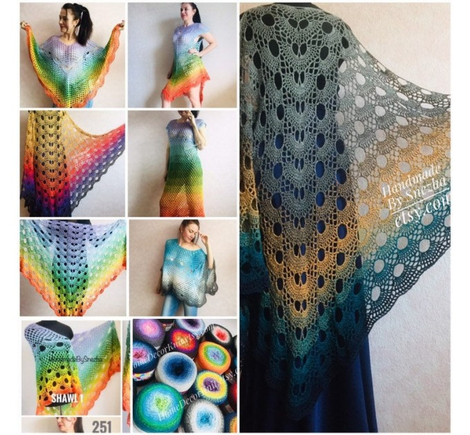Crochet Poncho Women Plus Size beach swimsuit cover up big Vintage Shawl White Cotton Knit Boho Cape Hippie Gift-for-Her Bohemian Rainbow  Poncho  5