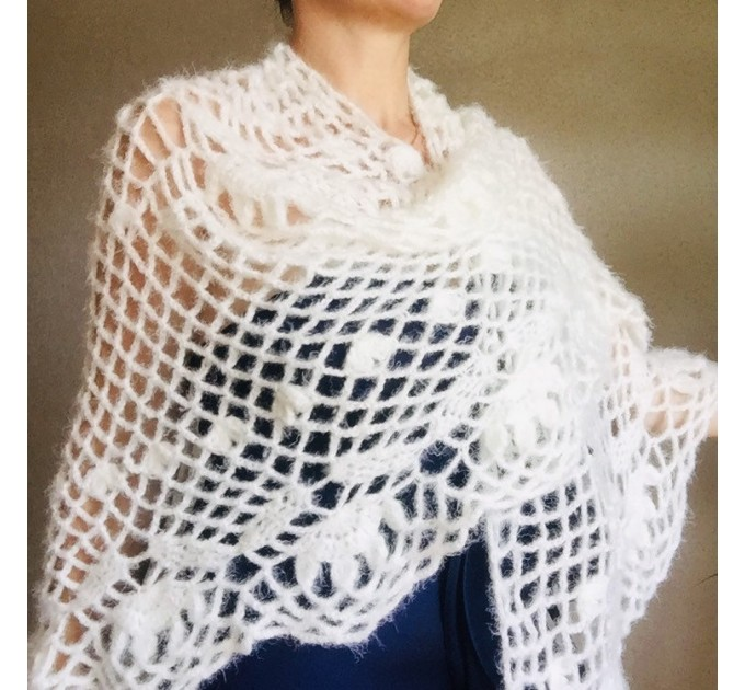 Ivory lace outlander crochet Shawl Wraps Fringe, Hand Knit faux fur festival pashmina Mother of groom gift Bridesmaid wedding triangle shawl  Shawl / Wraps  3