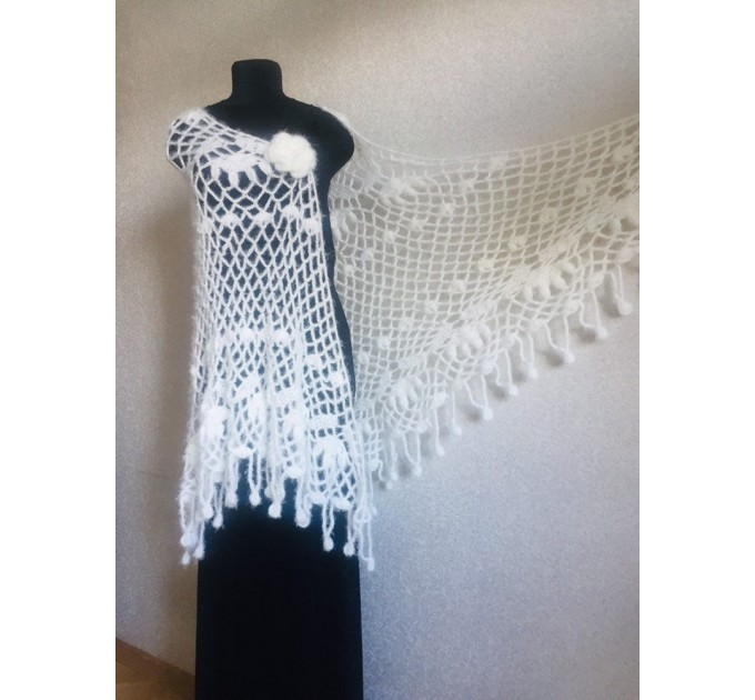 Ivory lace outlander crochet Shawl Wraps Fringe, Hand Knit faux fur festival pashmina Mother of groom gift Bridesmaid wedding triangle shawl  Shawl / Wraps  5