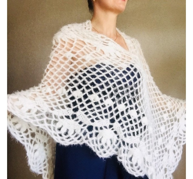 Ivory lace outlander crochet Shawl Wraps Fringe, Hand Knit faux fur festival pashmina Mother of groom gift Bridesmaid wedding triangle shawl  Shawl / Wraps  8