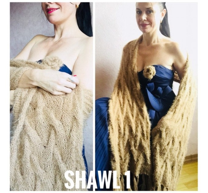 Ivory Faux Fur Shawl Wrap White Bridal Cover Up Winter Wedding Stole Fuzzy Bridesmaid Shawl, Beige Hand Knit Vegan fall Champagne, Navy Blue