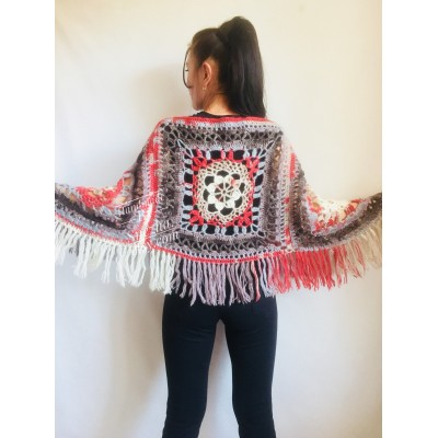 Crochet Poncho Women Cape Wraps Shawl Hand Knit Wool Poncho Sweater Winter loose Plus Size Boho Gray Wrap Knit Poncho Scarf White Black Red