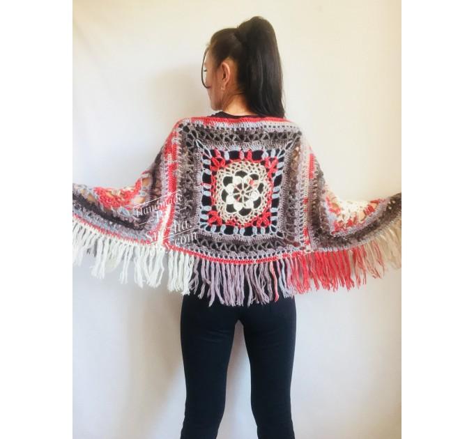 Crochet Poncho Women Cape Wraps Shawl Hand Knit Wool Poncho Sweater Winter loose Plus Size Boho Gray Wrap Knit Poncho Scarf White Black Red  Poncho