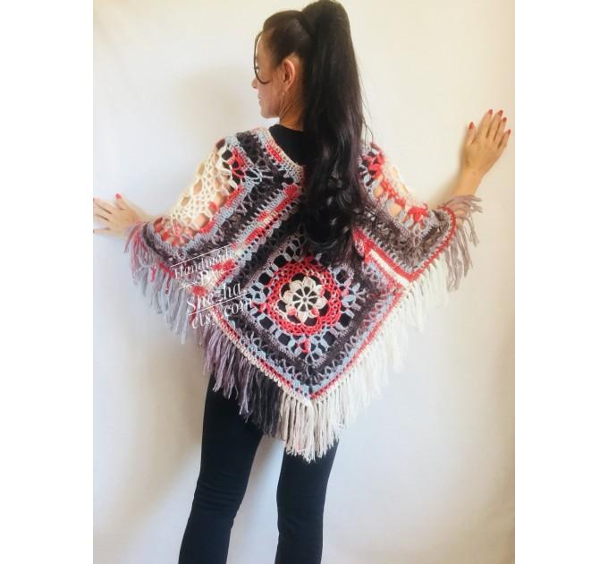 Crochet Poncho Women Cape Wraps Shawl Hand Knit Wool Poncho Sweater Winter loose Plus Size Boho Gray Wrap Knit Poncho Scarf White Black Red  Poncho  2