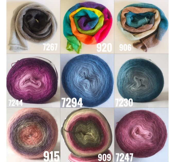 Rainbow Mohair scarf women, Knitted long striped winter scarf men, Lace Gradient shawl wraps mohair, Floral light oversized scarf   Mohair / Alpaca  8