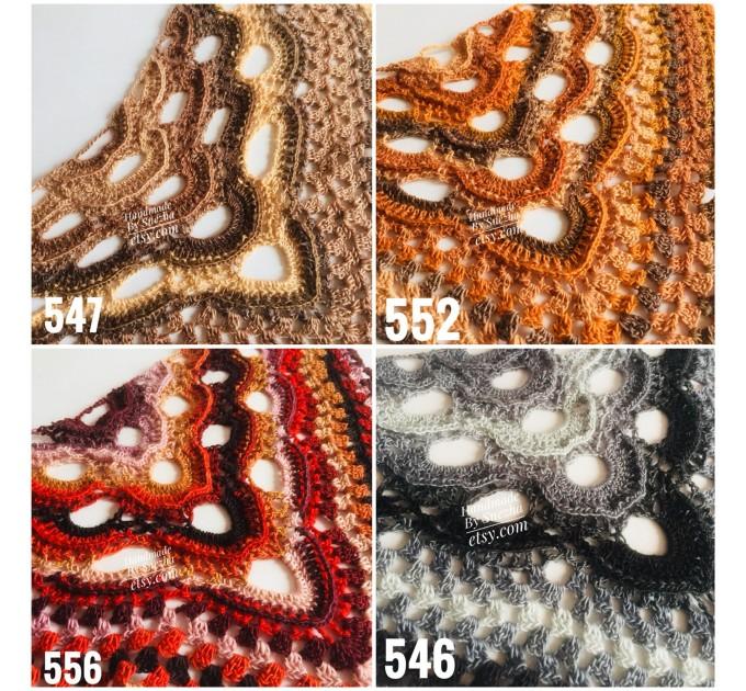 Crochet Shawl Wrap Green Triangle Boho Scarf Fringe Rainbow Shawl Big Multicolor Lace Shawl Hand Knitted Evening Shawl Gray Black White  Shawl / Wraps  2