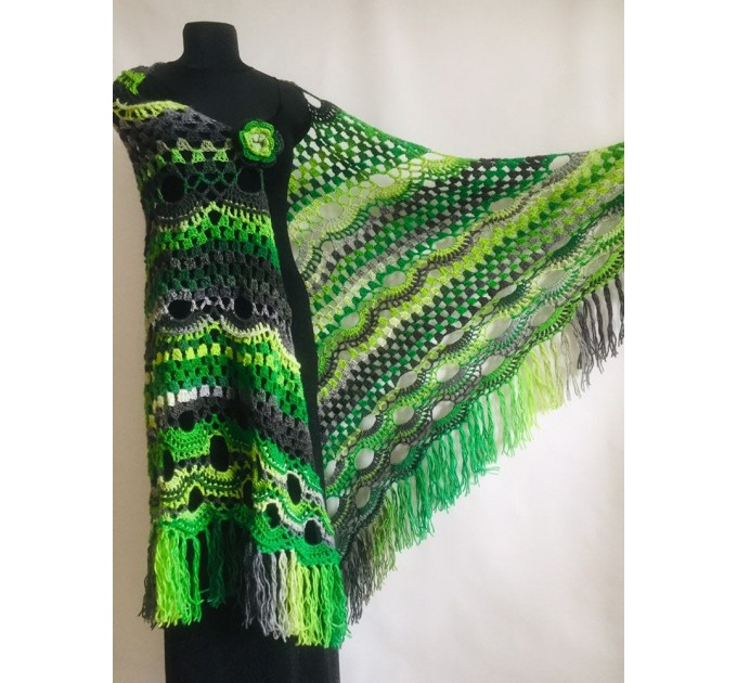 Outlander crochet Shawl Fringe, Hand Knitted lace triangle Granny Square Wraps, Evening festival Scarf Multicolor Green Brown Gray Black  Shawl / Wraps  6