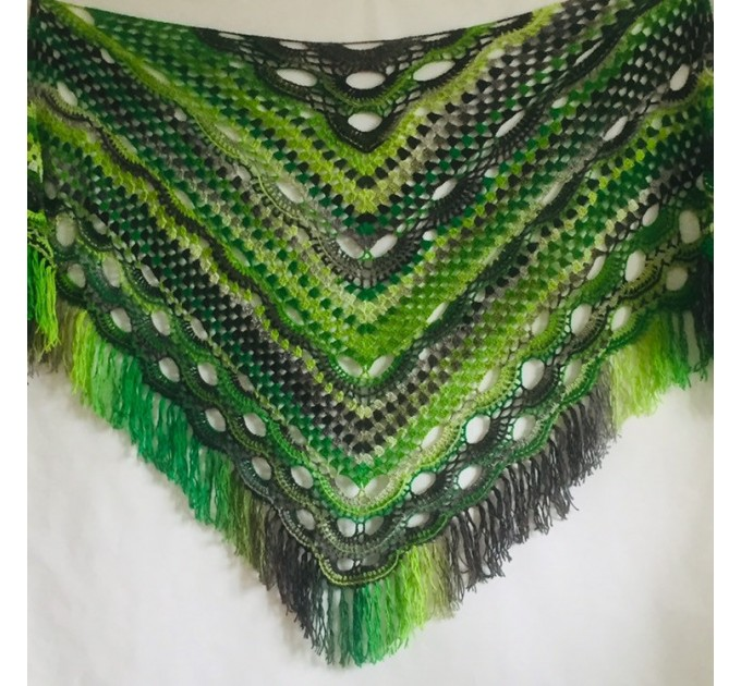 Outlander crochet Shawl Fringe, Hand Knitted lace triangle Granny Square Wraps, Evening festival Scarf Multicolor Green Brown Gray Black  Shawl / Wraps  2