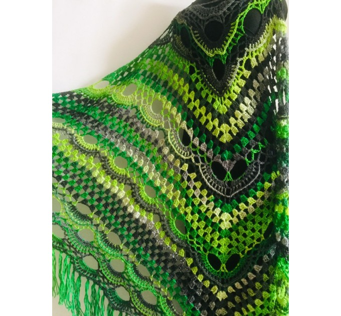 Outlander crochet Shawl Fringe, Hand Knitted lace triangle Granny Square Wraps, Evening festival Scarf Multicolor Green Brown Gray Black  Shawl / Wraps  3