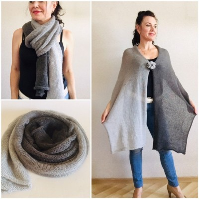 Gray Knitted long striped winter scarf women, scarf Men, Mohair Lace Gradient shawl wraps mohair, Floral light oversized scarf Blue, Beige