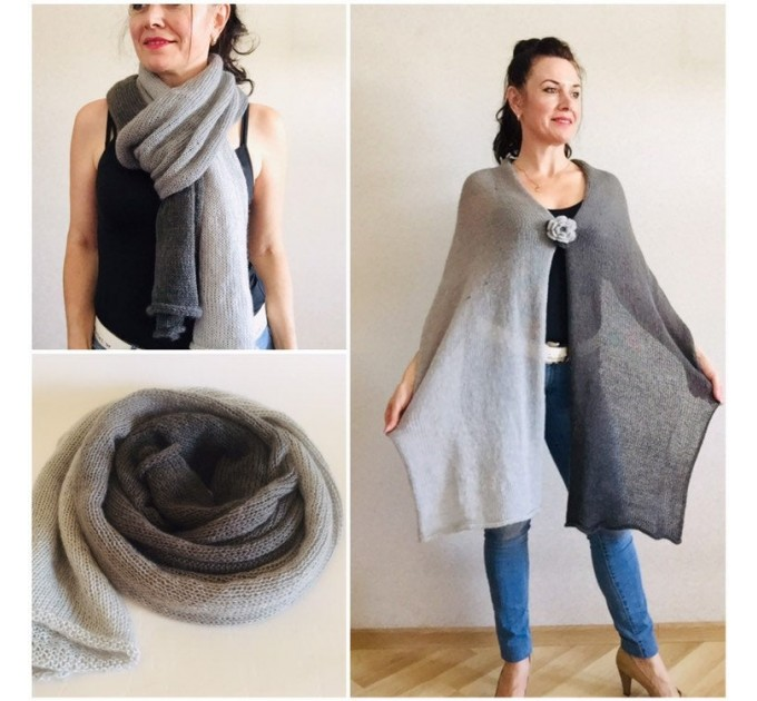 Gray Knitted long striped winter scarf women, scarf Men, Mohair Lace Gradient shawl wraps mohair, Floral light oversized scarf Blue, Beige   Mohair / Alpaca  1