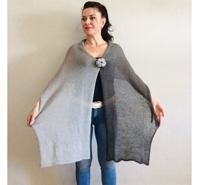 Gray Knitted long striped winter scarf women, scarf Men, Mohair Lace Gradient shawl wraps mohair, Floral light oversized scarf Blue, Beige   Mohair / Alpaca  2