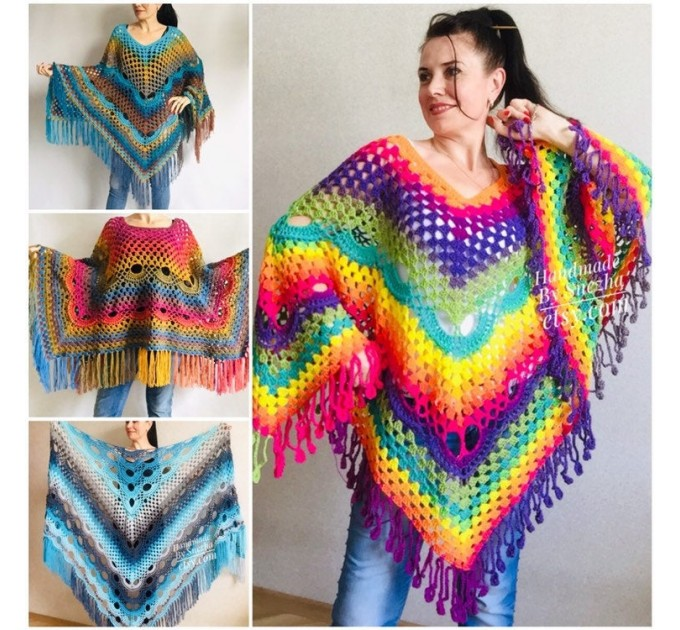 Crochet Poncho Women Plus Size Rainbow Festival Pride Vegan Clothing Fringe, Hippie Poncho bohemian clothing, Hand Knit Boho Wraps  Poncho