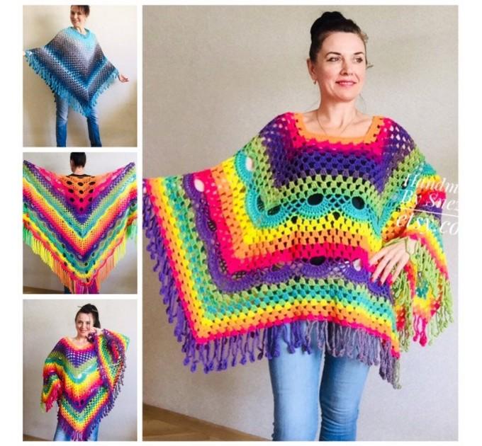 Crochet Poncho Women Plus Size Rainbow Festival Pride Vegan Clothing Fringe, Hippie Poncho bohemian clothing, Hand Knit Boho Wraps  Poncho  6