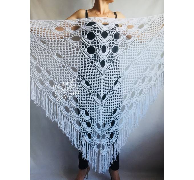 Bridesmaid shawl wedding shawl fringe, White crochet bridal cover up Hand knit crochet Bridal wrap Outlander lace shawl pin brooch Navy Blue  Shawl / Wraps  7