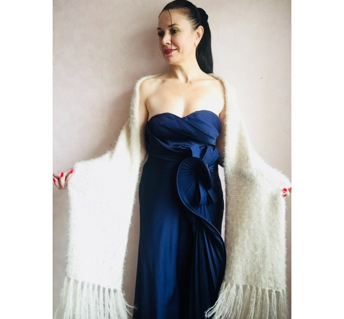 Ivory bridesmaid shawl faux fur Wedding shawl White Winter bridal bolero Vegan knit wrap Beige bridal cover up Navy Blue Fuzzy rustic shawl  Wedding  2