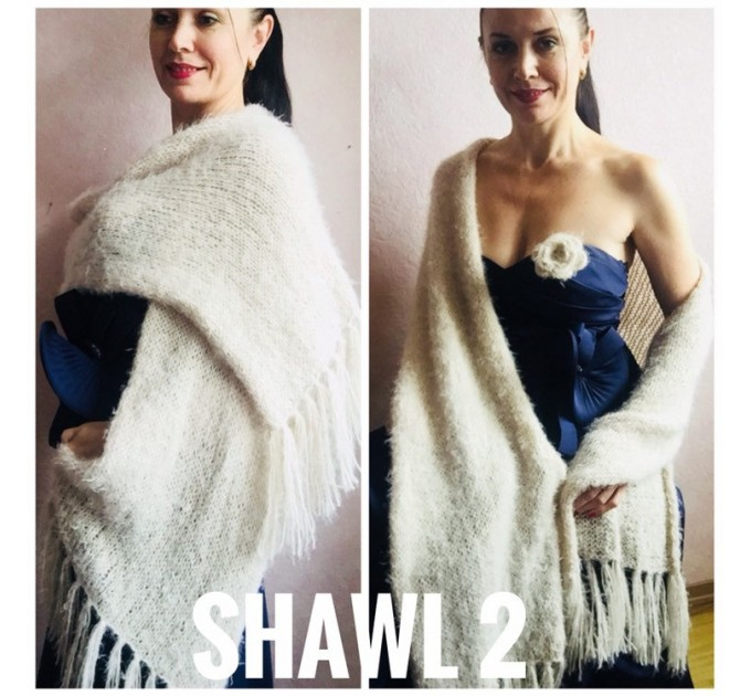 Ivory bridesmaid shawl faux fur Wedding shawl White Winter bridal bolero Vegan knit wrap Beige bridal cover up Navy Blue Fuzzy rustic shawl  Wedding  4