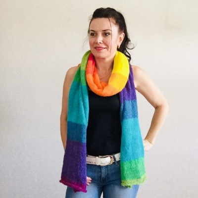 Rainbow long striped scarf women, Lace Gradient shawl wraps mohair, Knitted winter scarf men, Floral light oversized scarf