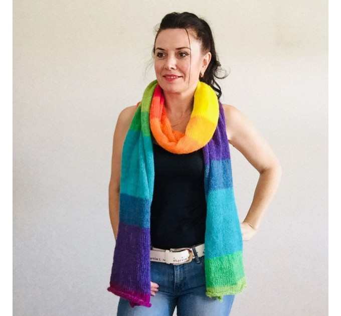 Rainbow long striped scarf women, Lace Gradient shawl wraps mohair, Knitted winter scarf men, Floral light oversized scarf   Mohair / Alpaca  1