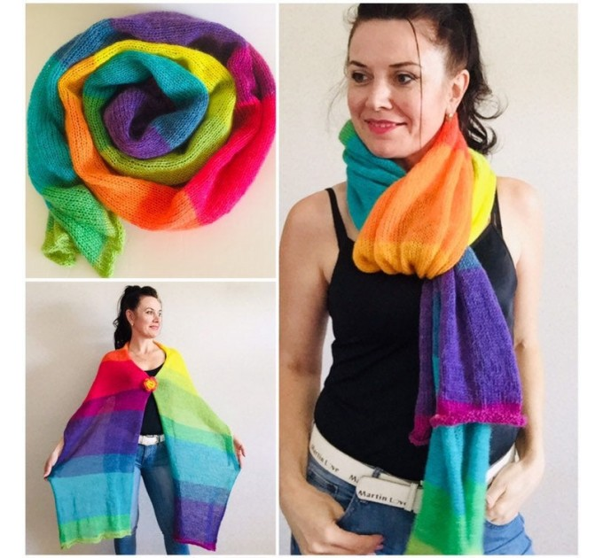 Rainbow long striped scarf women, Lace Gradient shawl wraps mohair, Knitted winter scarf men, Floral light oversized scarf   Mohair / Alpaca  2