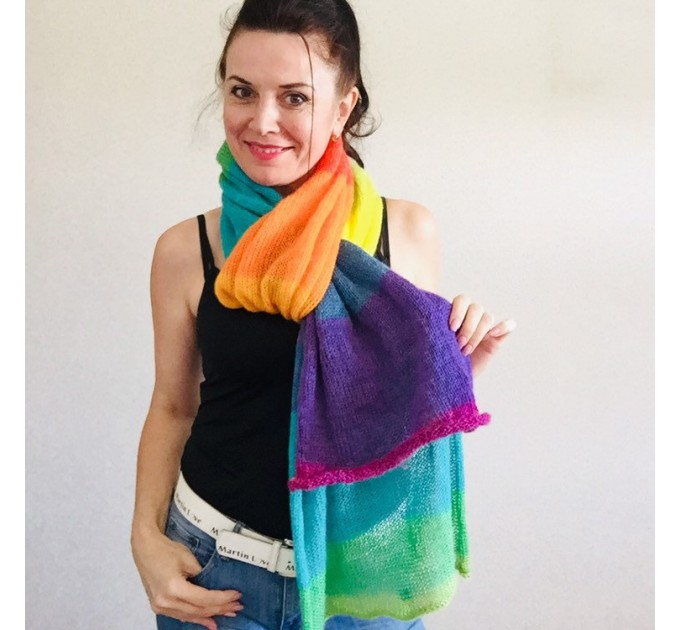Rainbow long striped scarf women, Lace Gradient shawl wraps mohair, Knitted winter scarf men, Floral light oversized scarf   Mohair / Alpaca  3