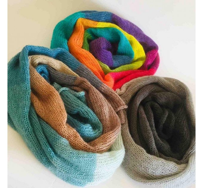 Rainbow long striped scarf women, Lace Gradient shawl wraps mohair, Knitted winter scarf men, Floral light oversized scarf   Mohair / Alpaca  6