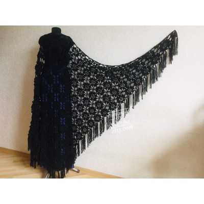Black outlander crochet Shawl Fringe, Hand Knit lace triangle Wraps Flowers festival Scarf Mother of groom gift, Bridesmaid wedding shawl