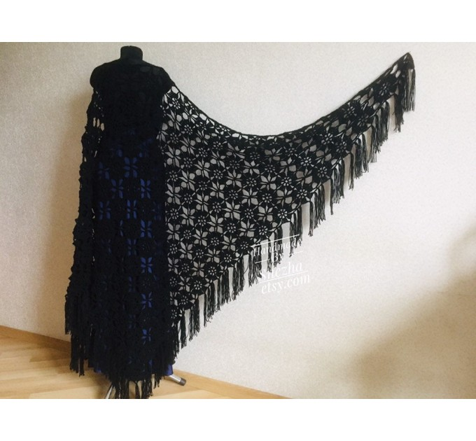 Black outlander crochet Shawl Fringe, Hand Knit lace triangle Wraps Flowers festival Scarf Mother of groom gift, Bridesmaid wedding shawl  Shawl / Wraps  1