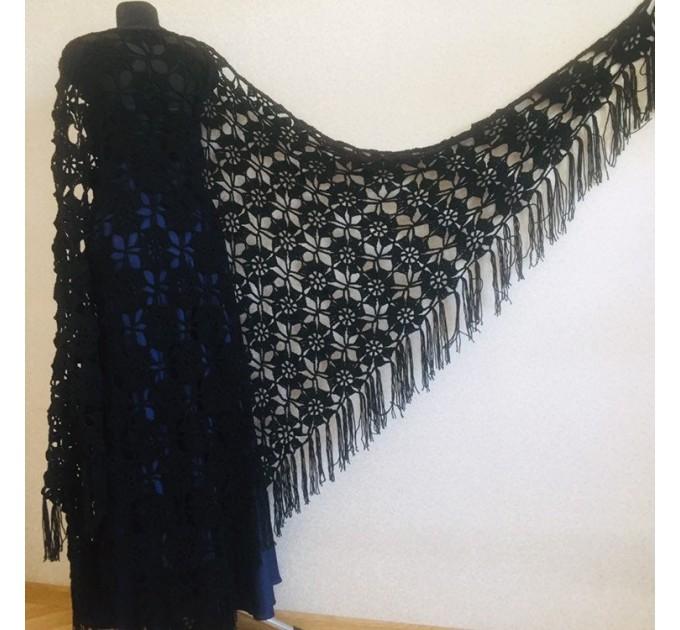 Black outlander crochet Shawl Fringe, Hand Knit lace triangle Wraps Flowers festival Scarf Mother of groom gift, Bridesmaid wedding shawl  Shawl / Wraps  7