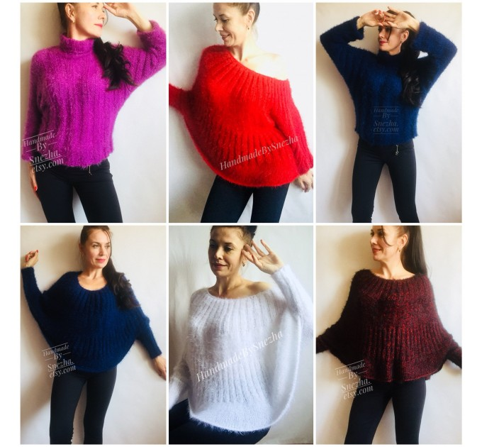 Mohair Sweater Woman Hand Knit Poncho Sweater faux fur Plus Size Black Red Oversized Chunky Cable Knit Fuzzy Sweater Navy Blue  Sweater  7
