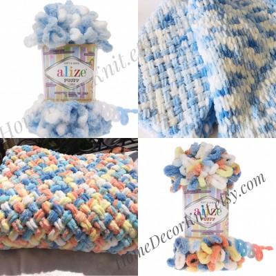 ALIZE PUFFY COLOR Yarn, Gradient Baby Rainbow Blanket Yarn, Easy Finger Knitting Yarn No hook No neddle, Velvet Bulky Super Chunky Yarn