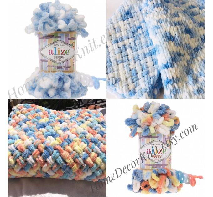 ALIZE PUFFY COLOR Yarn, Gradient Baby Rainbow Blanket Yarn, Easy Finger Knitting Yarn No hook No neddle, Velvet Bulky Super Chunky Yarn  Yarn  1