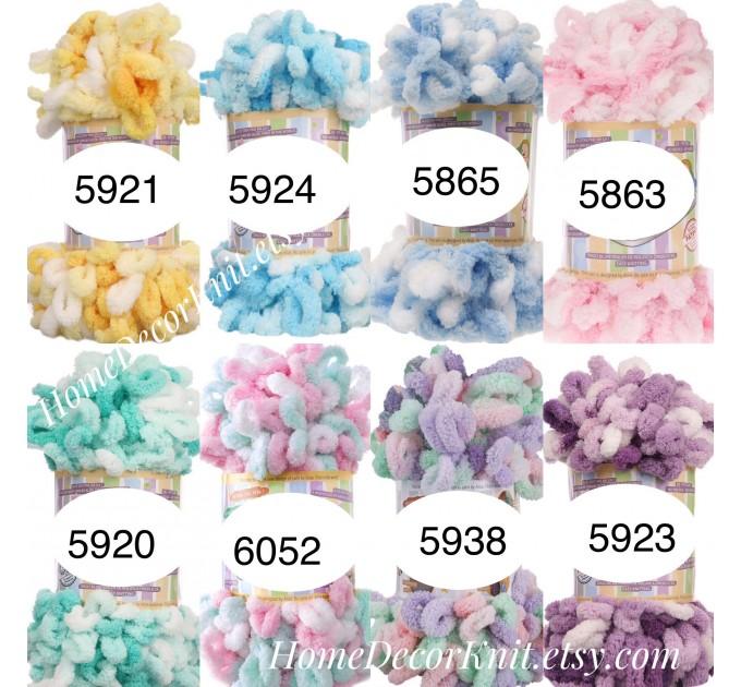 ALIZE PUFFY COLOR Yarn, Gradient Baby Rainbow Blanket Yarn, Easy Finger Knitting Yarn No hook No neddle, Velvet Bulky Super Chunky Yarn  Yarn  3