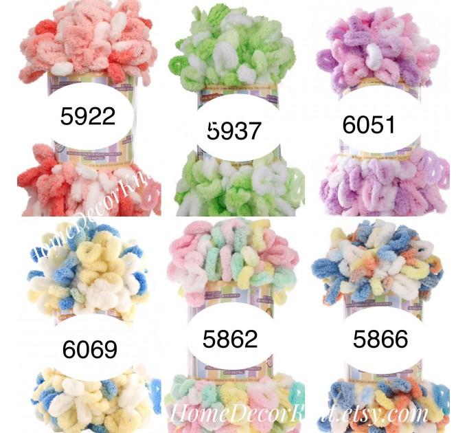 ALIZE PUFFY COLOR Yarn, Gradient Baby Rainbow Blanket Yarn, Easy Finger Knitting Yarn No hook No neddle, Velvet Bulky Super Chunky Yarn  Yarn  4
