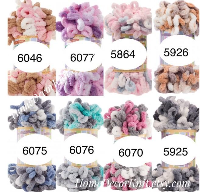 ALIZE PUFFY COLOR Yarn, Gradient Baby Rainbow Blanket Yarn, Easy Finger Knitting Yarn No hook No neddle, Velvet Bulky Super Chunky Yarn  Yarn  5