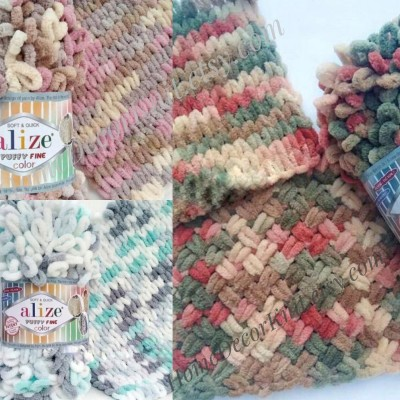 Alize PUFFY FINE COLOR Yarn, Gradient Baby Rainbow Blanket Yarn, Crochet Yarn No hook No neddle Velvet Bulky Super Chunky Yarn Easy Knitting