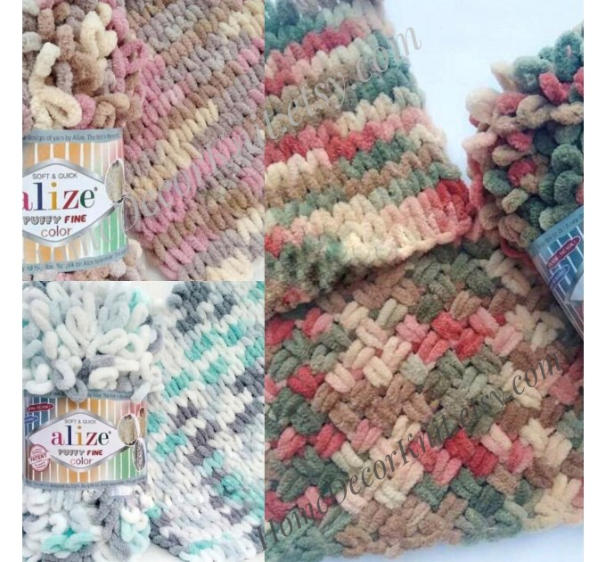 Alize PUFFY FINE COLOR Yarn, Gradient Baby Rainbow Blanket Yarn, Crochet Yarn No hook No neddle Velvet Bulky Super Chunky Yarn Easy Knitting  Yarn  1
