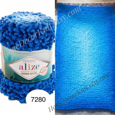 Alize PUFFY FINE OMBRE Batik Yarn, Crochet Yarn Gradient Baby Rainbow Blanket Yarn Mix Color Velvet Super Chunky Yarn No hook No needle