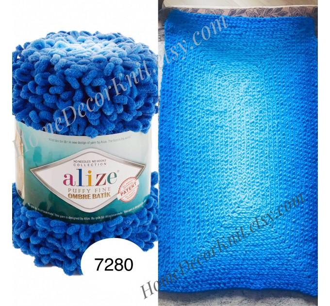 Alize PUFFY FINE OMBRE Batik Yarn, Crochet Yarn Gradient Baby Rainbow Blanket Yarn Mix Color Velvet Super Chunky Yarn No hook No needle  Yarn  1