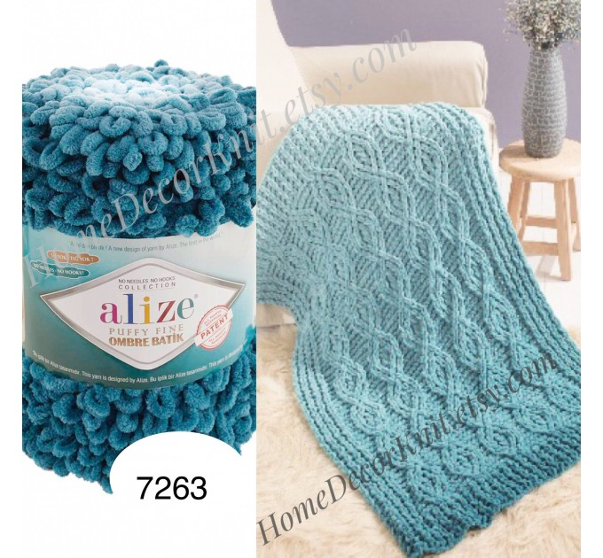 Alize PUFFY FINE OMBRE Batik Yarn, Crochet Yarn Gradient Baby Rainbow Blanket Yarn Mix Color Velvet Super Chunky Yarn No hook No needle  Yarn  2