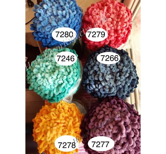 Alize PUFFY FINE OMBRE Batik Yarn, Crochet Yarn Gradient Baby Rainbow Blanket Yarn Mix Color Velvet Super Chunky Yarn No hook No needle  Yarn  4