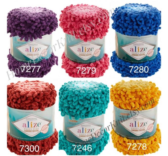 Alize PUFFY FINE OMBRE Batik Yarn, Crochet Yarn Gradient Baby Rainbow Blanket Yarn Mix Color Velvet Super Chunky Yarn No hook No needle  Yarn  5