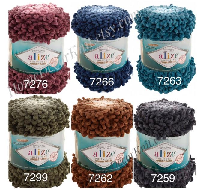 Alize PUFFY FINE OMBRE Batik Yarn, Crochet Yarn Gradient Baby Rainbow Blanket Yarn Mix Color Velvet Super Chunky Yarn No hook No needle  Yarn  6