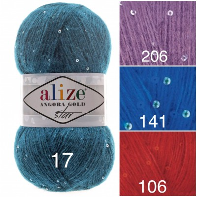 Alize ANGORA GOLD STAR Yarn Rainbow PayetteYarn Metallic Shiny Effect Wool Mohair Acrylic Crochet Shawl Poncho Knitting Sweater
